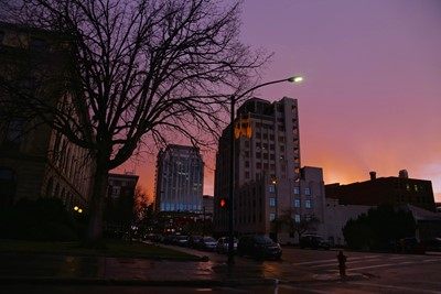 Downtown Purple Night Sky